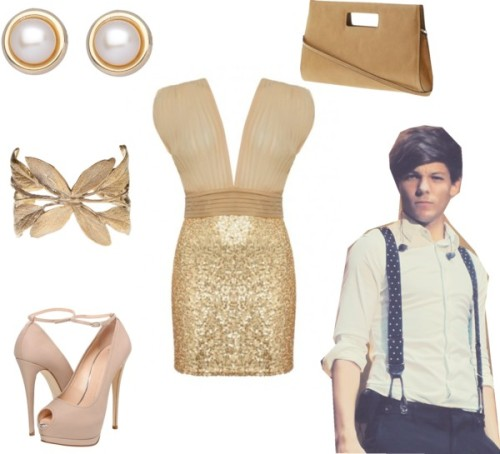 VMAs with Louis by lydia-willig featuring gold jewelryJones + Jones gold dress / Giuseppe Zanotti high heels / Melie Bianco clutch handbag / Alkemie  jewelry / Gold jewelry, $135