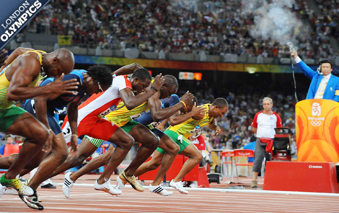 Jamaica's Usain Bolt (center) won gold in the 100m in Beijing (9.69 seconds), but he enters London with questions.SPORTS ILLUSTRATED This is when the Games really begin, writes Tim Layden. Ten days of competition in track and field has started. The 100m is the main event, but there are many more storylines to watch Off And Running