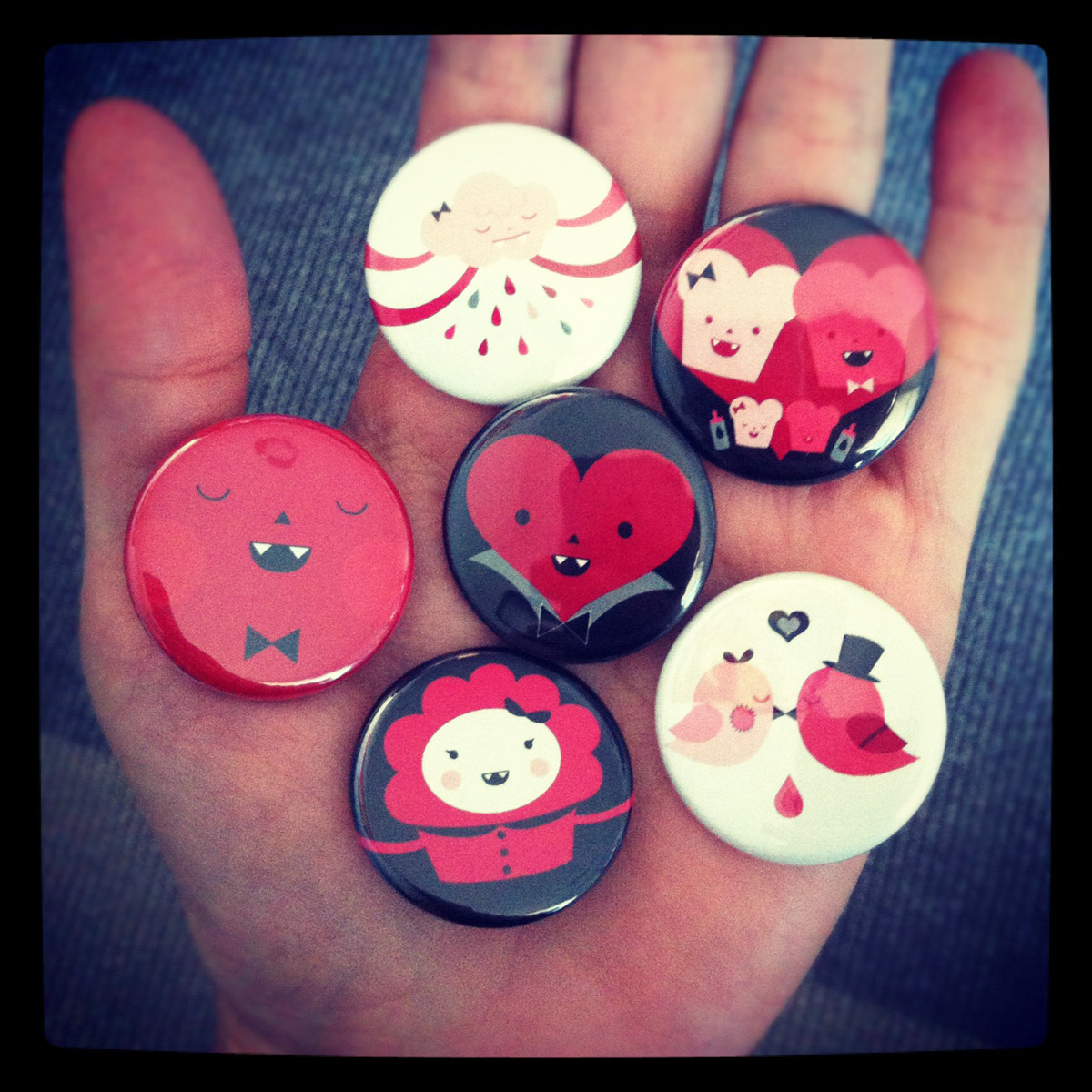 Bloody Family buttons.