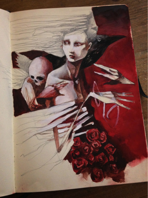 crawwstuff:  Moleskine smudges. Oils over graphite.
