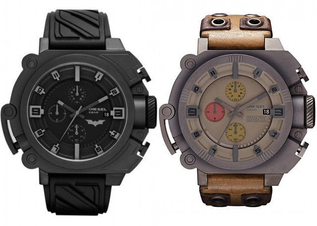 backdoortrap:  Diesel presented a limited edition of Batman and Bane watches.  A perfectly designed timepiece from Diesel combining the delicate balance of good & evil into a very cool chronograph. The stealthy black steel and rubber features of the Batman Limited Edition watch capture the essence of the character.  Available at Watchismo for $ 325.- Sadle that's way more than my budget for watches.