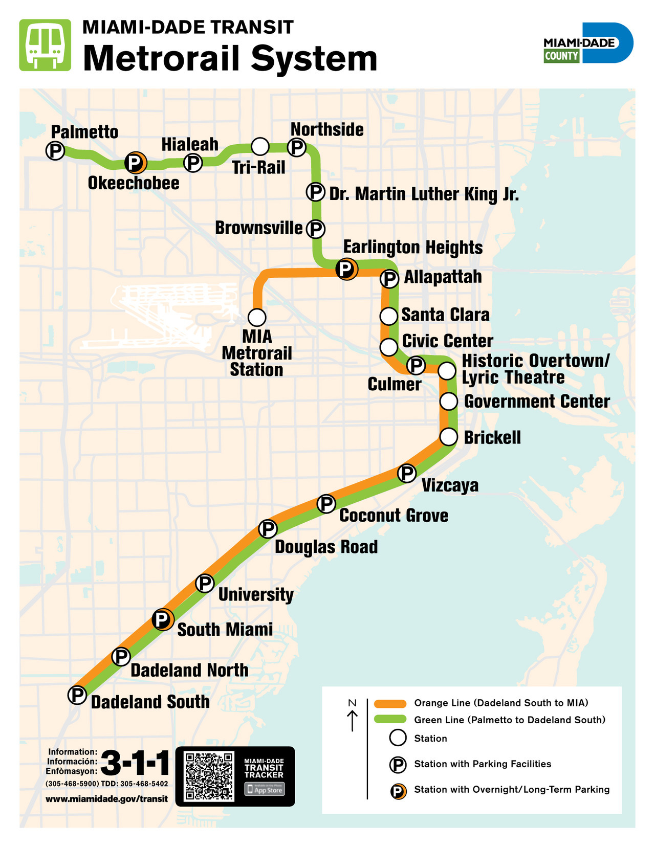 Official Map: Miami-Dade Metrorail System Miami's Metrorail just opened a new station at Miami International Airport, and decided to create an entirely new line (the Orange Line) to celebrate. Along with that, comes a new system map… which is, unfortunately, pretty terrible. Have we been there? No. What we like: The icon for overnight/long-term parking lots is actually pretty neat. What we don't like: Poorly chosen background colours make the road drid hard to distinguish from the background. On that note, why include the road grid at all if none of the roads are labelled? And do we really need to see all the runways and taxiways at MIA? The two route lines are incredibly poorly drawn, with very sloppy curves - especially into the MIA station and between the Civic Center and Culmer stations. There's a slight gap between the lines between South Miami and University stations, so it looks like the lines were drawn separately next to each other, rather than using tools in the software to duplicate or offset one line to create the other. Shonky. Huge and ugly station name labels. Our rating: GIS software really should be taken away from people making transit maps for public consumption. This map is uninspiring, bland and poorly executed. 1 star.  (Source: Official Miami-Dade County website)