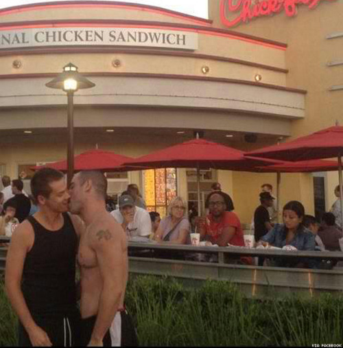 gaywrites:  Happy Chick-fil-A Same Sex Kiss-In Day! If you have a Chick-fil-A nearby and a same-sex sweetheart to smooch, go ruffle some feathers (in a decent and law-abiding way, of course). Send me pictures of your adventures at gaywritesblog@gmail.com and I'll post them here!   Queer kissing at Chick-Fil-A