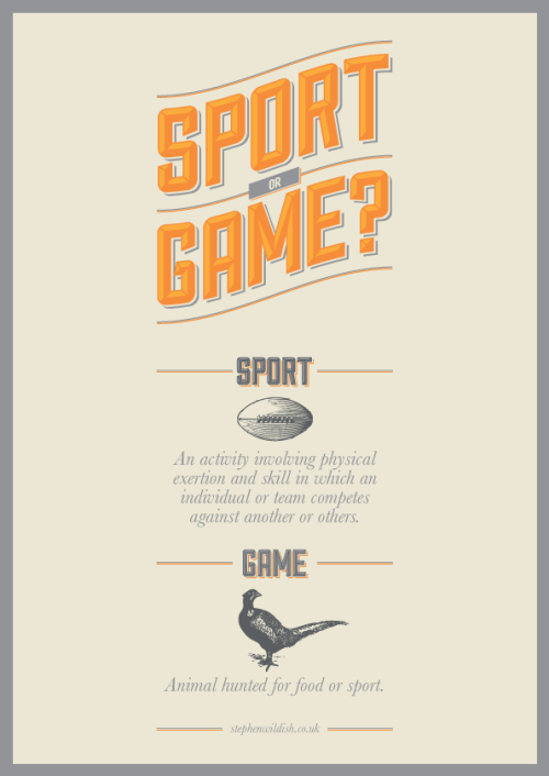 Friday Project: Sport or game. Confused between the difference? Let me help with this handy poster.