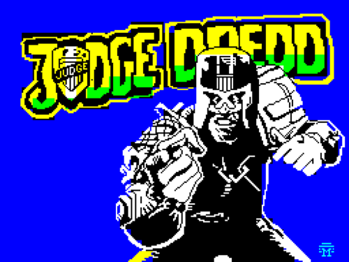 Loading screen graphic from the Judge Dredd video game on the Sinclair ZX Spectrum - 1987. I'm guessing a new one will be along soon… …with Karl Urban on the box, perhaps?