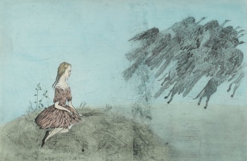 Come Away from Her - Kiki Smith (2003) Based on a manuscript drawing by Lewis Carroll for his book Alice's Adventures Under Ground (1864).