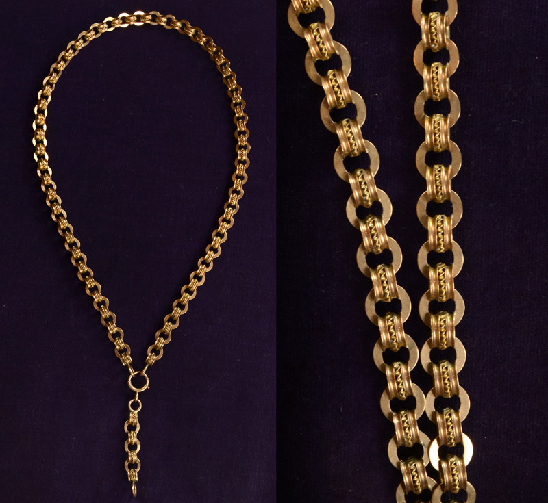 "1890s Heavy Linked Victorian Collar / Book Chain, 10K Gold, $1650 One of the nicest book chains I've seen in a long time.  This sort of chain was worn with lockets, sometimes matched to the chain.  Often the links are very flat and hinged along each side— hence the ""book"" name.  This one has rounder links though, giving it a slightly more elegant shape than most book chains.  They're also very rare to find in solid gold."