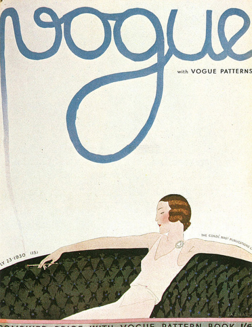 "Vogue covers by Parisian artist André Edouard Marty When I saw a post about ""The Art of Vogue Covers,"" my eye was first drawn towards the elegant composition and illustration on the July 23, 1930 issue. The seemingly sparse magazine cover makes wonderful use of white space, with subtle smoke travelling upwards to blend softly into the thick, hand-lettered Vogue masthead.  Above is another fashionable Vogue cover with full-bleed art of a woman painting. On this cover from August 1929, ""Vogue"" looks painted in cursive, with each letter linking to the next without hesitation, one continuous stroke of a brush. Both covers are by André Edouard Marty. I'm slightly embarrassed that I was unfamiliar with the artist A. E. Marty until today. (discovered via scans from The Art of Vogue Covers book via Miss Moss)"