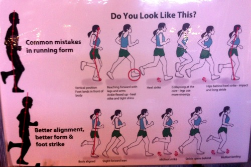 "The Best Running Form!  I saw this posted at the SF Marathon Expo and I wanted to share it with everyone.  I realized that I tend to ""sit in the bucket"" and favor heelstriking. From now on, I'm going to try standing taller with a slight forward lean. This encourages a midfoot strike as well! Hopefully this will prevent injuries and allow me to run faster with less effort. I read somewhere that, ""running is like controlled falling."" That's why you want to have a slight forward lean. You can read more here: http://www.runningplanet.com/training/running-form.html Poor Form (Sitting in the Bucket):  Body vertical.  Foot lands in front of body Reaching forward with legs and arms Ankle flexed up Heelstrike and tight shins Collapsing at the core Hips behind heel strike Long stride Nice Form  Body aligned Slight forward lean  Midfoot strike Stride opens behind Midfoot landing So now you have lots of think about while you're out running those long miles! Happy running (or working out in general) =)  ~Geraldine"