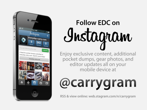 Want even more EDC content? Check out @carrygram! This new platform will serve as an additional medium to deliver user-submitted content that isn't as well-suited for the main tumblr for whatever reason. It's a win-win situation, as less content goes unpublished. I appreciate your submissions and want to do my best to publish them in one way or another. If you don't have instagram, don't worry! You can still view @carrygram on the web. Cheers and carry on, Bernard
