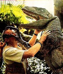"Bob Peck (Muldoon) filming his death-by-""Clever Girl"" scene for Jurassic Park."