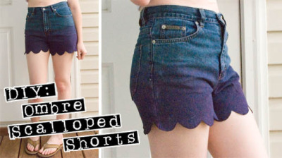 dulceetdecorus:  DIY Ombre Scalloped Shorts