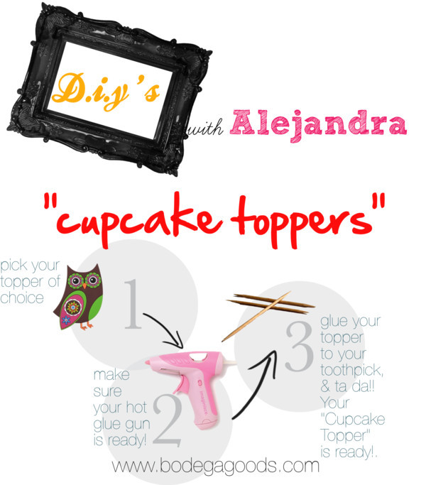 thousandsofwordsonepicture:  diy's with alejandra: cupcake toppers by bodegagoods featuring tote handbags