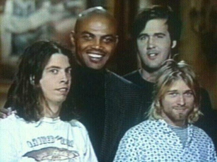 ryandonato:  Charles Barkley with Nirvana  Smells like donuts.