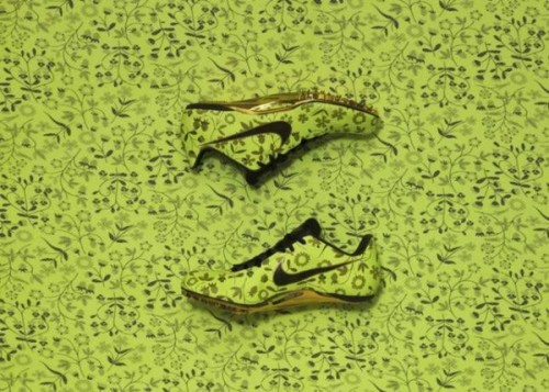 Liberty x Nike Track Spikes - Mirabelle two pairs of track spikes made for female Nike Olympians for London 2012.  Green floral patterned uppers to make a big statement.  really liking all the patterns that come from Liberty x Nike collabs.  click here for more pics Related articles Liberty x Nike Hyperclave Lite 'Black/Sail-Sail' (sneakerfiles.com)