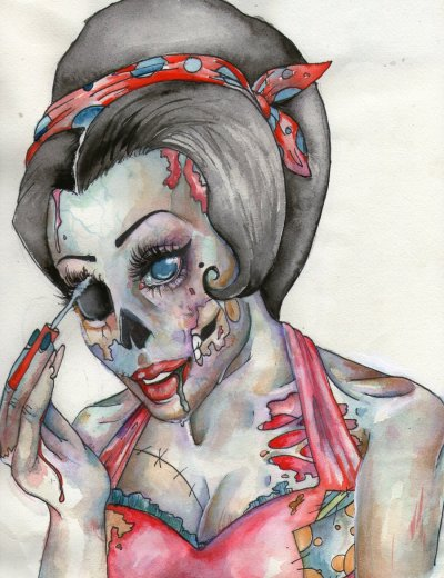 katiemaehem:  ~ pin up zombie~ by ~pendawg