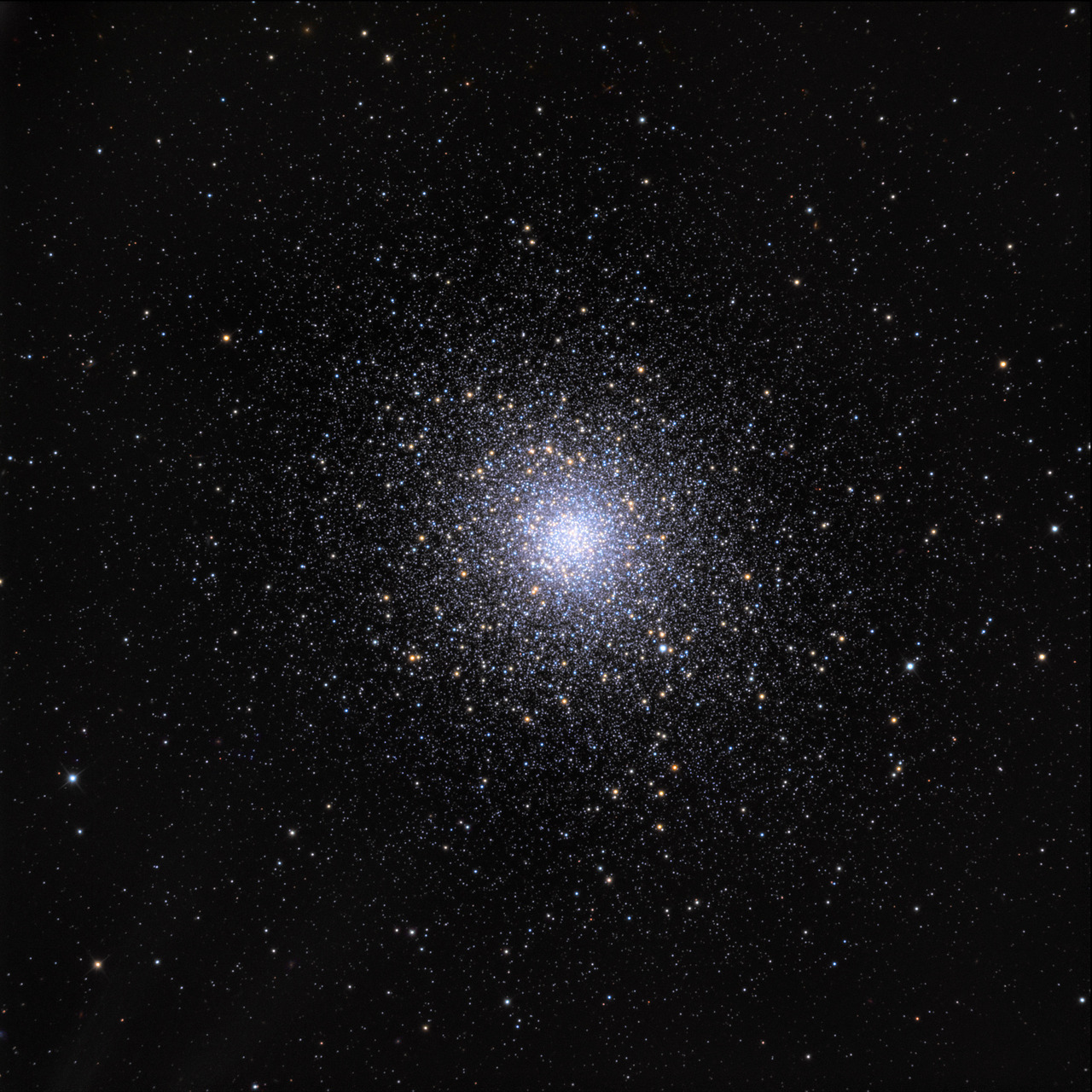 "the-eldest-woman-on:   Messier 5  Image Credit & Copyright: Adam Block, Mt. Lemmon SkyCenter, University of Arizona ""Beautiful Nebula discovered between the Balance [Libra] & the Serpent [Serpens] …"" begins the description of the 5th entry in 18th century astronomer Charles Messier's famous catalog of nebulae and star clusters. Though it appeared to Messier to be fuzzy and round and without stars, Messier 5 (M5) is now known to be a globular star cluster, 100,000 stars or more, bound by gravity and packed into a region around 165 light-years in diameter. It lies some 25,000 light-years away. Roaming the halo of our galaxy, globular star clusters are ancient members of the Milky Way. M5 is one of the oldest globulars, its stars estimated to be nearly 13 billion years old."