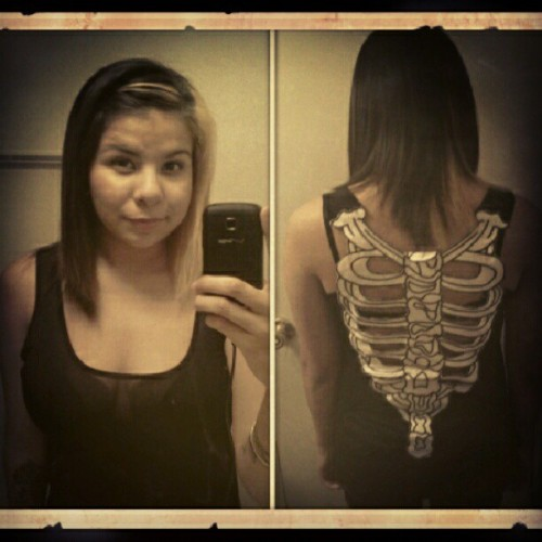 #skeleton #tank #black #white #ribs #spine #fashion #me #self #portrait  (Taken with Instagram)