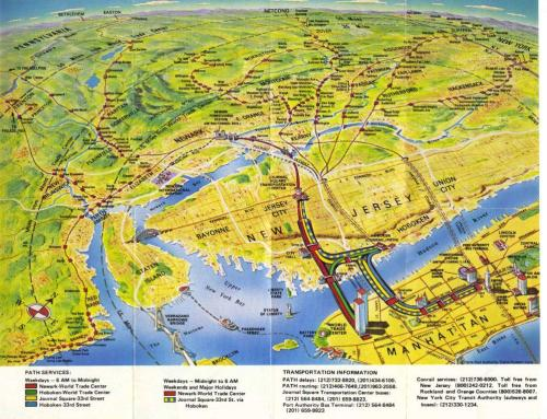 transitmaps:  Historical Map: PATH Map, New York and New Jersey, 1979 After all the diagrammatic maps we've featured so far, it's nice to showcase something completely different - check out this awesome painted birds-eye view of PATH services between New Jersey and Manhattan from 1979. It also shows other rail services in New Jersey snaking off into the far distance, and even Lady Liberty standing guard over New York and the cutest little Staten Island ferry you ever did see. Have we been there? Yes, but I haven't caught a PATH train. What we like: Just about everything! Attractive, historical, useful… this one's got it all in spades. What we don't like: Not a lot! Our rating: Fantastic! Its strangely distorted perspective reminds me of the famous 1976 New Yorker cover of the view of America from downtown Manhattan. Five stars!  (Source: wavz13/Flickr)