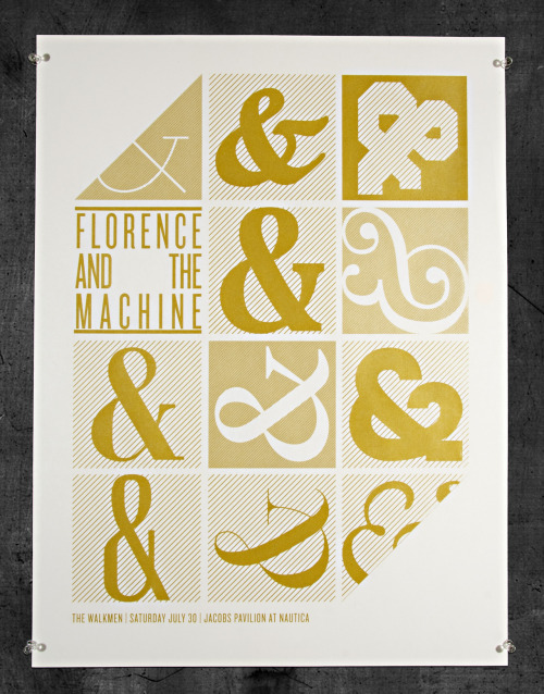 visualgraphic:  Florence + The Machine show Saturday 7.30.12 @ Jacobs Pavilion at Nautica Cleveland, OH. One color screen print on 80lb. International Paper card stock. Metallic gold ink.