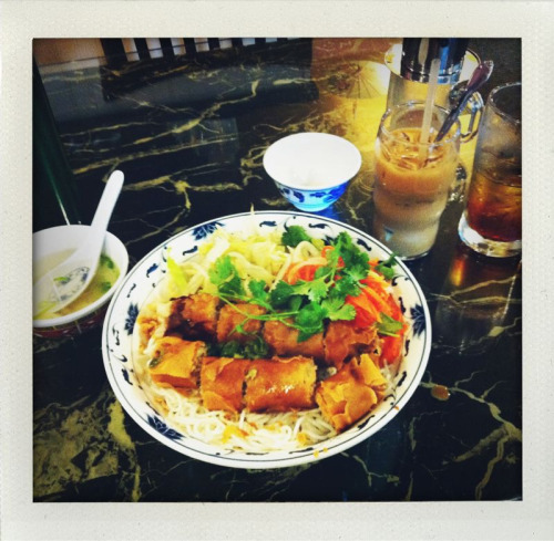 propermake:  egg roll vermicelli from pho broadway. it was not awesome. why can't there be good asian food near my house? and the iced coffee had way too much condensed milk in it.