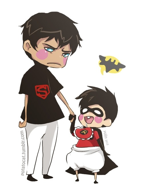 Angry kid Superboy is babysitting baby Robin. (Tim)