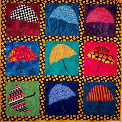 One-of-a-kind quilted wall hanging:  Don't Rain On My Parade