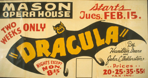 "I Love this poster. ""Dracula"" by Hamilton Deane and John L. Dalderston 1938"