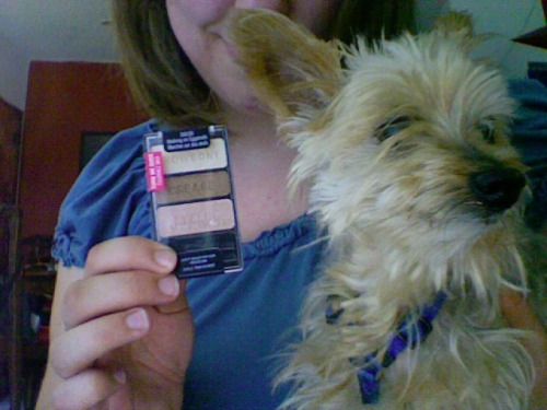 Afternoon, Tumblr! I recently bought the Wet n' Wild Color Icon eyeshadow trio in Walking on Eggshells during a recent trip to my local CVS…only to get home and find that I had dupes or near-dupes of all of the colors already. My frustration, however, is your gain, as I am giving this new item away for free! Scrangie has some really great pics and swatches of the colors at this post. Above is a picture of my dog, Winston, with the unopened palette (this would be my way of enticing you to enter): To enter, please reblog or like this post. Multiple reblogs will not count, as I will be selecting the winner randomly and want to give everyone who enters a fair chance. On Friday, August 10 (one week from today), I will pick a winner using a spreadsheet, notify them within 24-48 hours via their ask box (or on here if they do not respond), and mail the item to the winner, blah blah blah et cetera. Wet n' Wild is a really inexpensive but high-quality brand (I am a big fan of their Comfort Zone eyeshadow palette), so there is no downside to entering, except if you don't like eyeshadow or something (in which case, maybe you shouldn't enter). Reblog and spread the word!