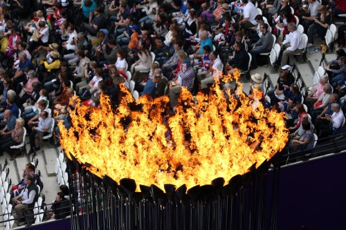 gettyimages:  The Cauldron: The Olympic Cauldron burns on Day 7 of the London 2012 Olympic Games at Olympic Stadium on August 3, 2012 in London, England. Photo by: Ian Walton/Getty Images