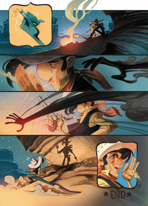 rufftoon:  Lucky Luke tribute by ~EnriqueFernandez Enrique Fernandez draws Lucky Luke? I may have died a bit of happiness today <3  Beautiful Enrique Fernandez art, huuurgh!