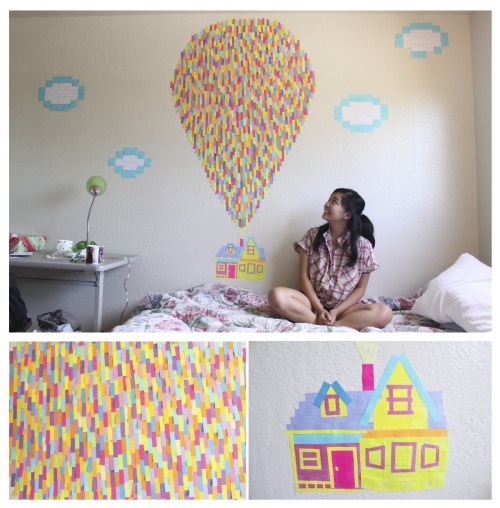 makemesmile613: 2200+ post-its later and I'm finally done (: Whenever I enter my room I'll look at this and remember that hope and adventure is always on the horizon!