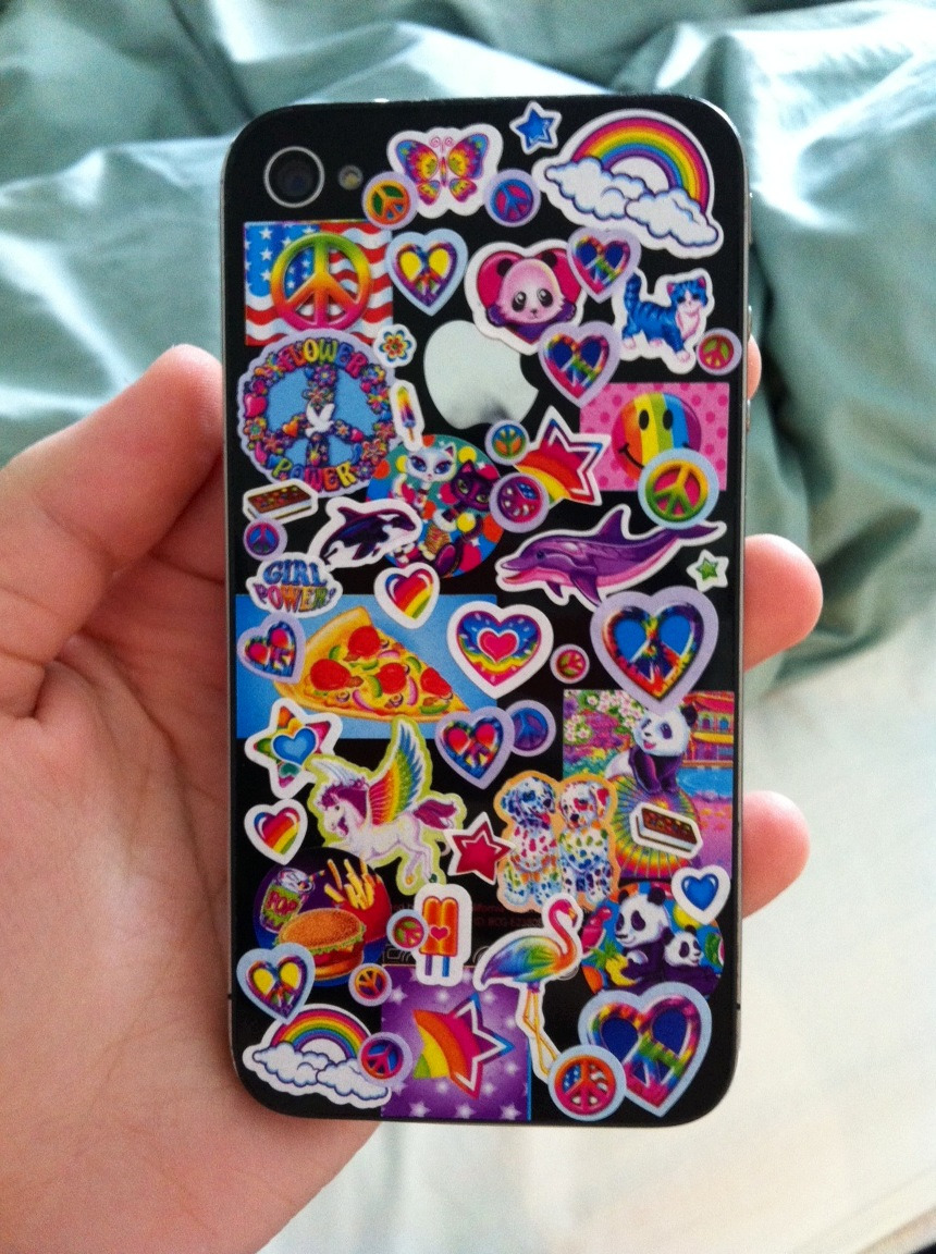 decorated my phone with my lisa frank sticker album (◕‿◕✿)