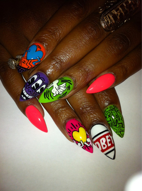 nailsbyregina:  Obey x Keith Haring  I love these