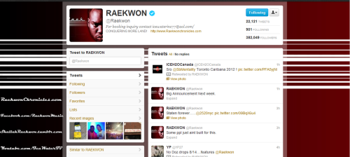 Second Twitter layout designed for Raekwon
