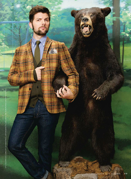 kunstgriff:  Adam Scott with a BEAR, from possibly the finest Maxim photoshoot of all time.