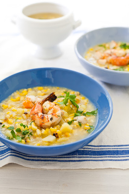 Smoky Corn Chowder with Shrimp with recipe (link)