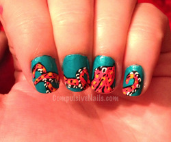 NOW AVAILABLE TO PURCHASE HERE!!! Octopus nails across four fingers… I was bored and wanted to do something unusual on my own nails :)