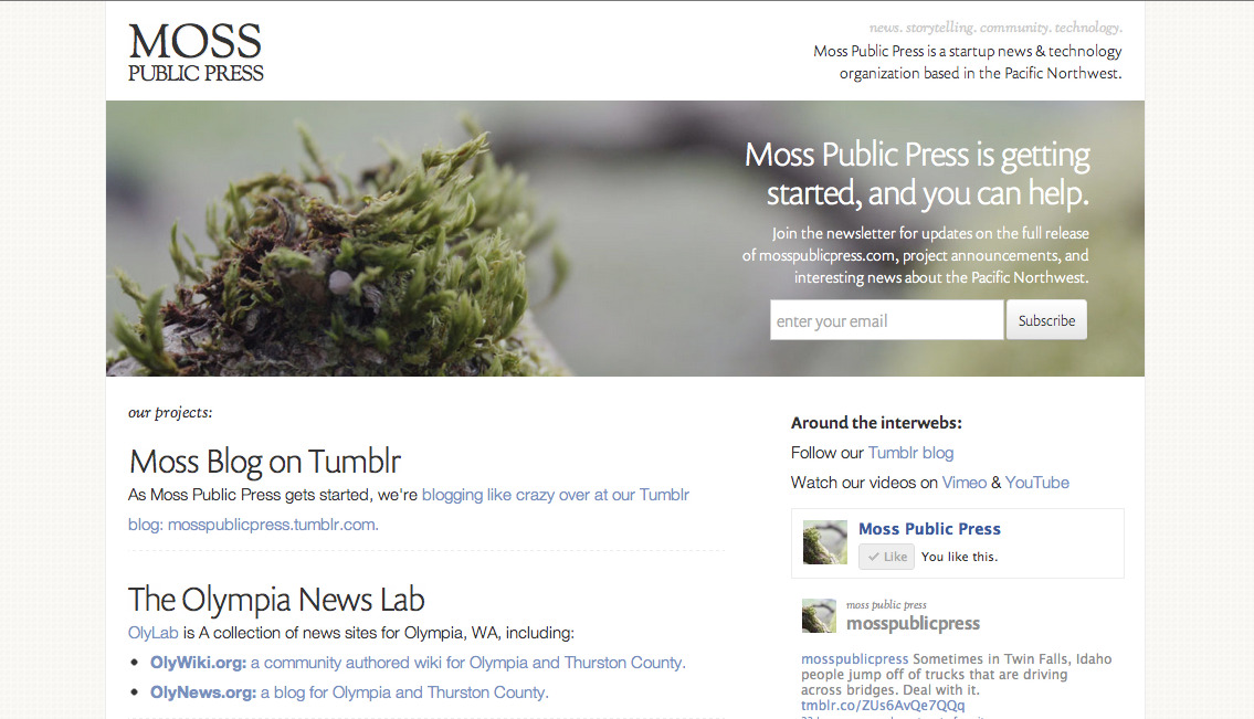 I redesigned the main website for Moss Public Press: mosspublicpress.com. It's looking pretty good. I can't figure out what to do about the logo. I want something that's just a one color icon-style image with the Moss Public Press name to the right or bottom of it. If you have any ideas let me know.