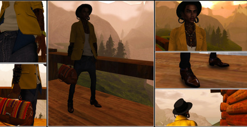 "Location: Swiss Alps  OUTFIT  Jacket: [*RG*] SuitJacket sculpted open -Creme-  (modified) Vest: [W&B] Tea Hawks Vest INDIGO Tank: [NSD] BonJour Tank White Pants: ** Cestar :*.:: Pants BZ ::. G  { Blue dark } Socks: Pig - Socks Mit Suspenders - Blue Sock Shoes: :)(: PIXELFASHION Oxford Shoes Brown V1  ACCESSOIRES   Hat: Srs Corp. Fedora - Black Necklace: [MANDALA] Soul Jewelry set (Gold) MALE/MP Bracelet: drd rubber bracelets black Bag: HERITAGE`91 ~ PehRue {Satchel Bag} Watch: [DDL] BitterSweet  BODY   Skin: * Prodigal * Lee choco - shaved Ears: AITUI [MESH] - Stretched Ear - Tunnel Hybrid + Punch 3"" Tattoo: - BlackFeet - To the ends of the Earth"
