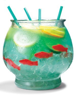 "faggotspice:  lush-bucket:  simplycaptivating:  The Fish Bowl Ingredients ½ cup Nerds candy½ gallon goldfish bowl5 oz. vodka5 oz. Malibu rum3 oz. blue Curacao6 oz. sweet-and-sour mix16 oz. pineapple juice16 oz. Sprite3 slices each: lemon, lime, orange4 Swedish gummy fish Sprinkle Nerds on bottom of bowl as ""gravel."" Fill bowl with ice. Add remaining ingredients. Serve with 18-inch party straws.   SWEET JESUS, THIS IS THE BEST THING I HAVE EVER SEEN ON THE INTERNET.   this looks like the best worst idea ever"