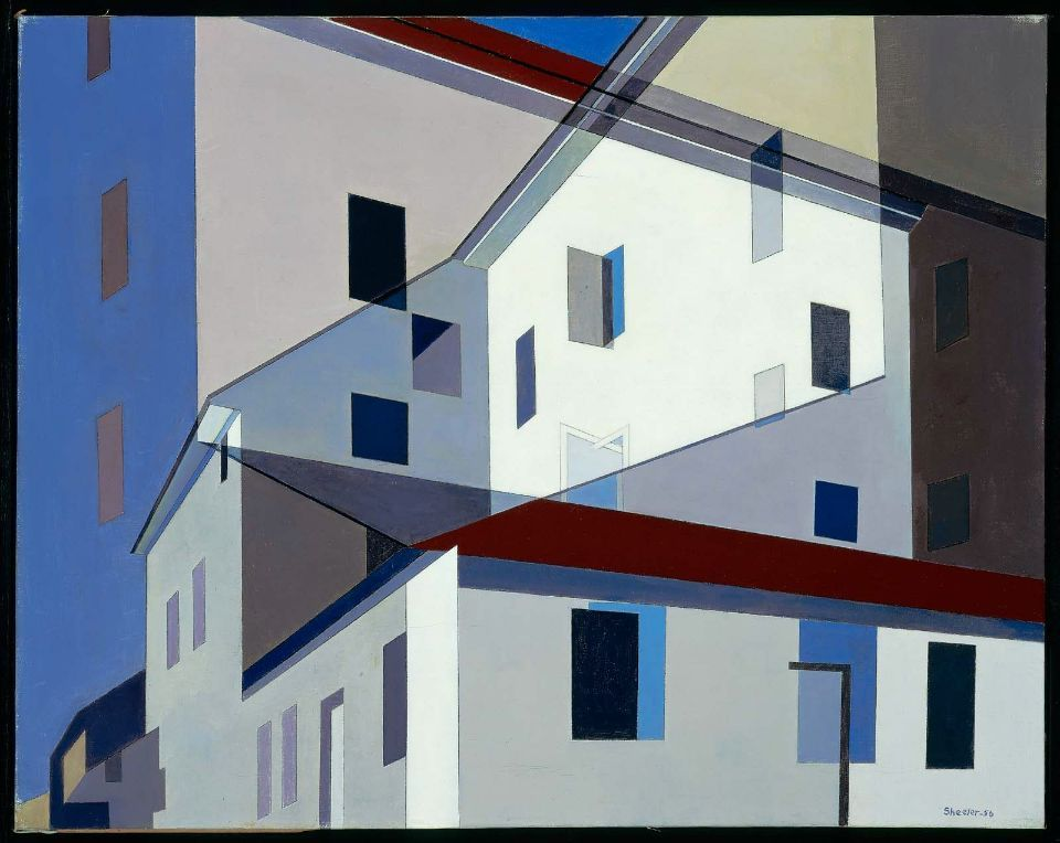 "cavetocanvas:  Charles Sheeler, On a Shaker Theme, 1956 From the Museum of Fine Arts, Boston:  In 1946, Sheeler had begun to experiment with composite photography as a basis for his paintings. He superimposed photographic negatives, sometimes reversing them, to arrive at evocative compositions. In ""On a Shaker Theme,"" Sheeler overlaid two images, one slightly smaller and in reverse, of the portion of the laundry and machine shop depicted in ""Shaker Detail."" He also radically simplified the details of the building so that windows and doors are reduced to rectangles. Sheeler's method of overlapping images resulted in a complicated scaffolding of diagonals and verticals. ""On a Shaker Theme"" celebrates the refined geometric forms that underlie Shaker design, although its compositional intricacy eschews the Shaker virtues of purity and simplicity. This complexity, however, becomes integral to the piece if we consider the title of the painting to be musical - Sheeler had used musical titles starting in 1940 with ""Fugue"" - as in Brahms's ""Variations on a Theme by Haydn."" Some of Brahms's variations on a simple theme become quite complex with the addition of contrasting but parallel melodic lines played along with the theme. Thus Sheeler took the simple geometric shapes that he admired in Shaker architecture as his theme, and by using composite photography created an intricate tribute to a beloved building."
