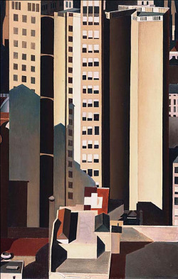 cavetocanvas:  Charles Sheeler, Skyscrapers, 1922 From the Phillips Collection:  Skyscrapers, which reflects the 1920s precisionist aesthetic, is one of Sheeler's most accomplished assimilations of European modernism into his own uniquely American style. Using sharply defined contours, non-atmospheric planes of color, and intense frontal light, Sheeler conveyed the grandeur of monumental buildings grouped together. For Skyscrapers, Sheeler made and studied both a photograph and a drawing. In comparing the photograph and the drawing with the final work, one can visualize Sheeler's gradual reduction and simplification of the scene. By cropping the image, he brought the subject closer to the picture plane. In the painting, Sheeler simplified the image by creating planes of solid color for the shapes that are crucial to the overall structure of the composition. The viewer's eye is directed into the composition by the diagonal recession of strong gray shadows. Intended as a unifying compositional device rather than a disclosure of time of day, these raking shadows converge on the focal point of the painting, the cubic design in the lower center of the picture. The diagonal contours of the shadows disrupt the otherwise predominantly vertical composition.