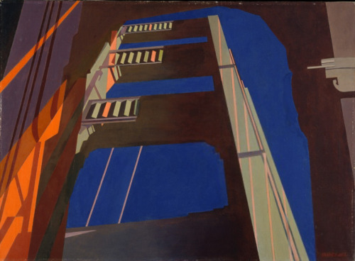 cavetocanvas:  Charles Sheeler, Golden Gate, 1955 From the Metropolitan Museum of Art:  During a visit to San Francisco, Sheeler took a number of photographs to use for his paintings. This unusual view of the Golden Gate Bridge, painted a few months after he returned east, resulted from superimposing a number of those 35-millimeter slides.