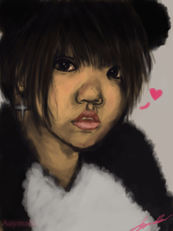 Hope you feel better Jannybear ♥A speedpaint (took about an hour and a half) of one of my good friends Janice ♥ :( She wasn't feeling well today so I decided to make her a little feel better gift based on one of her photos that I just altered :)I had fun with this…I haven't painted digitally in…a really long time. So it was a nice exercise.Back to studying immuno!