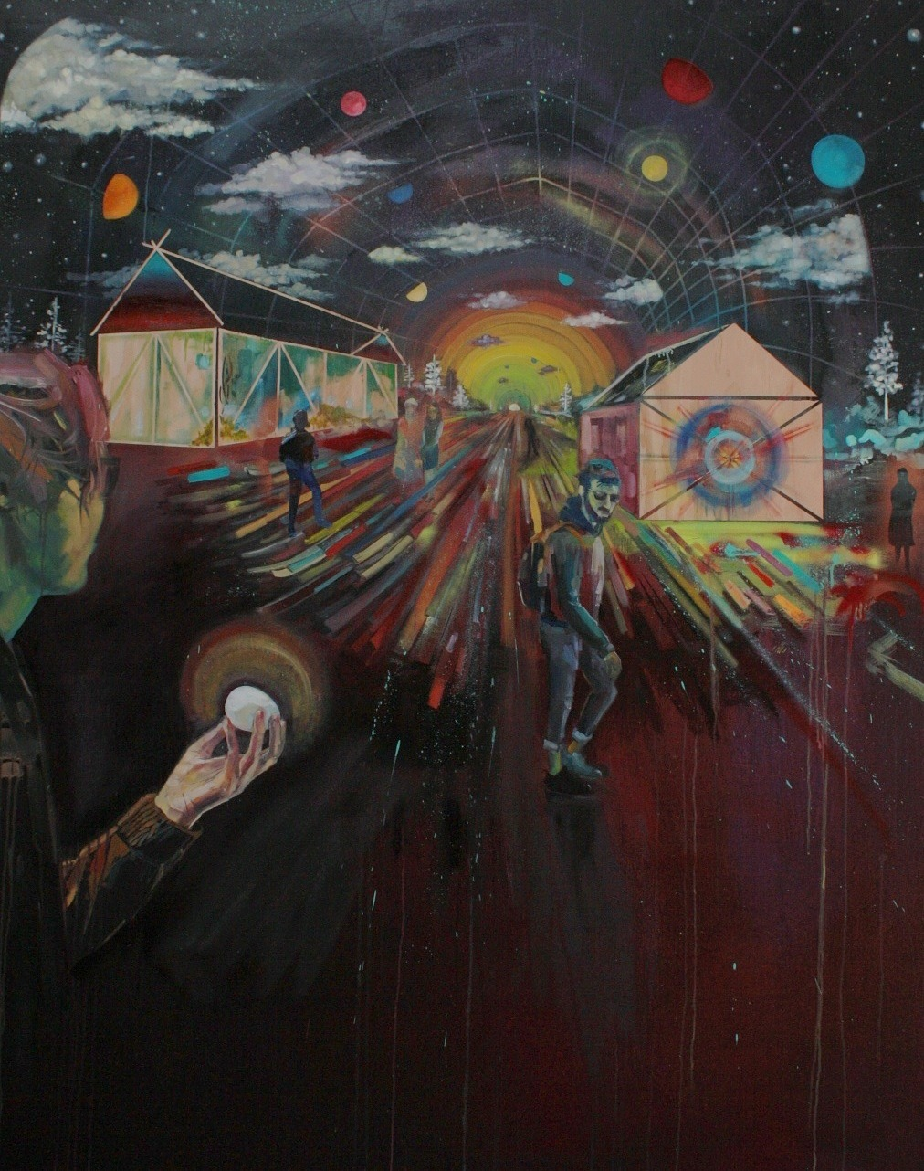 """egg-toss"" 48""x60"" oil, acrylic, spray paint, mixed technique on wood panel Joshua Nissen King artcaveuno"