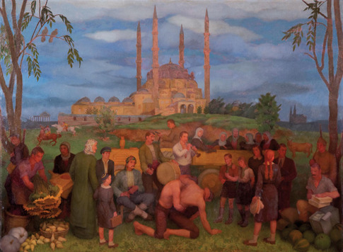 Kırkpınar In Front Of The Selimiye Mosque By Mahmut Cûda, 20th Century
