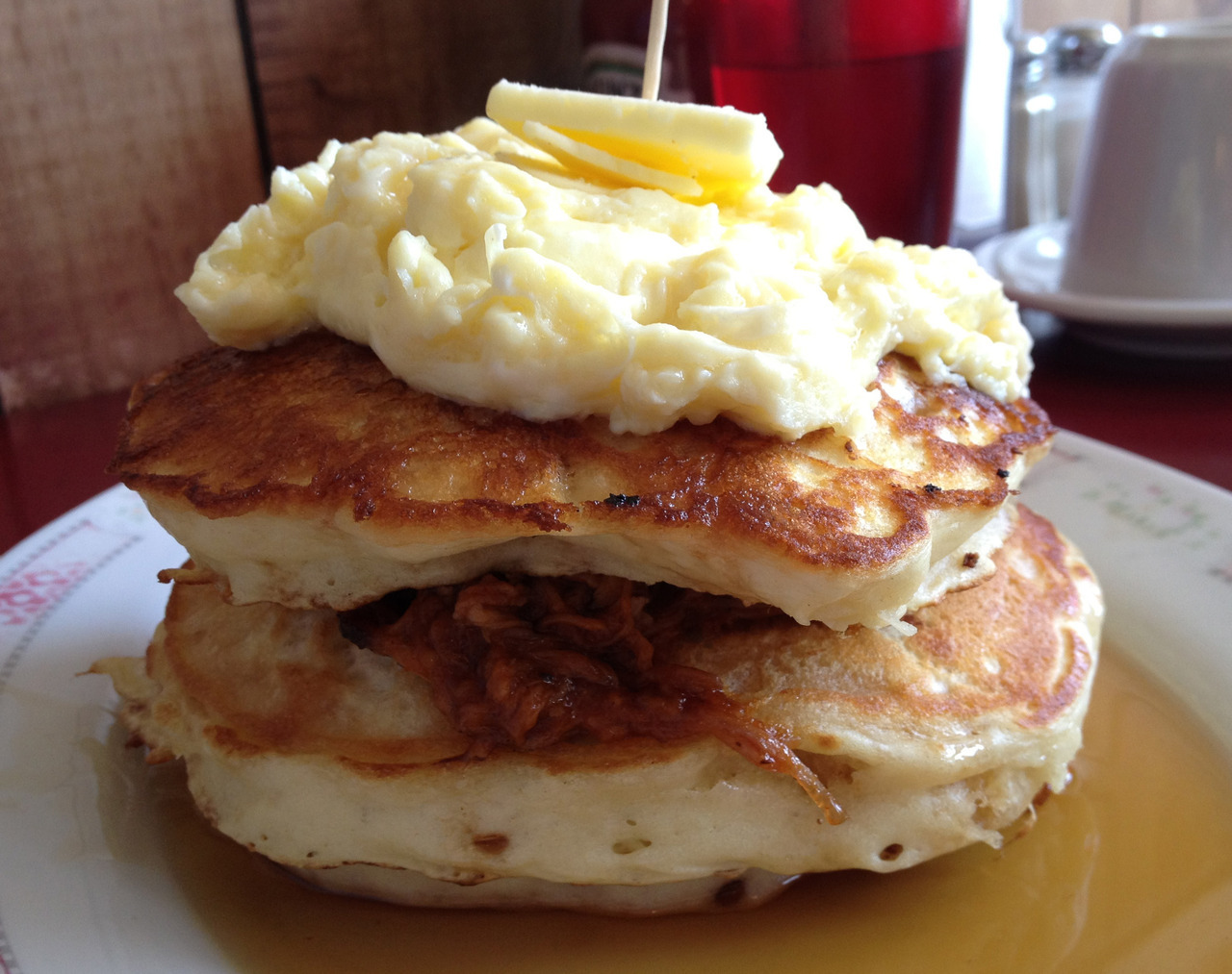 The Red Wagon (Vancouver) Pulled Pork Pancakes I LOVE THEM!!!I'm still kinda confused as to whether this really counts as dessert, but HELLO these were the most delicious pancakes I've ever had and so I need to make a post about them. THE END!  The Red Wagon on Urbanspoon