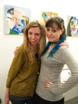 Beth took this photo of Shannon and me :)The paintings in the background are by our friend Mandy, aren't they cool?