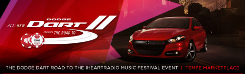 This Saturday and Sunday come out and test drive the New Dodge Dart to enter for your chance to win a trip for 2 to the iHeartRadio Music Festival. One grand prize winner will also win a brand new Dodge Dart customized by one of the festivals performers. First 300 people to test drive will receive a $10 Tempe Marketplace gift card. Everyone who test drives will be eligible for a trip to Las Vegas for the iHeartRadio Music Festival. Fun Music Party all weekend in the big air conditioned tent at Tempe Marketplace. Cold drinks, music, giveaways…what more can you ask for? On Saturday, August 4th from 9am until 3pm Mix 96.9 will be on-site at Tempe Marketplace for the Dodge Dart Road to the iHeart Music Festival. Endless Entertainment provided the event production including the lighting, sound, tenting, and logistics for this event.
